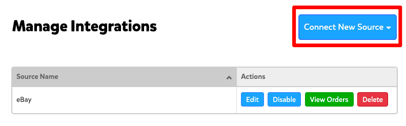 A screenshot from the Integrations page under Settings that shows the Connect New Source button in blue in the upper right hand corner.