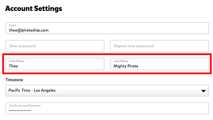 A screenshot showing the Account Settings section of Settings. The fields for 'First Name' and 'Last Name' are highlighted.