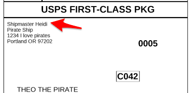 A picture of the label preview, showing the what the 'Name (optional)' field looks like on that actual label. This information is displayed towards the top left corner of the label.