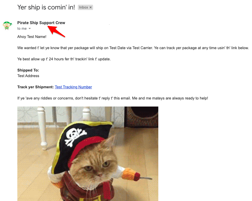 A screenshot of an email, with a red arrow pointing at where the 'Sender Name' field is displayed.