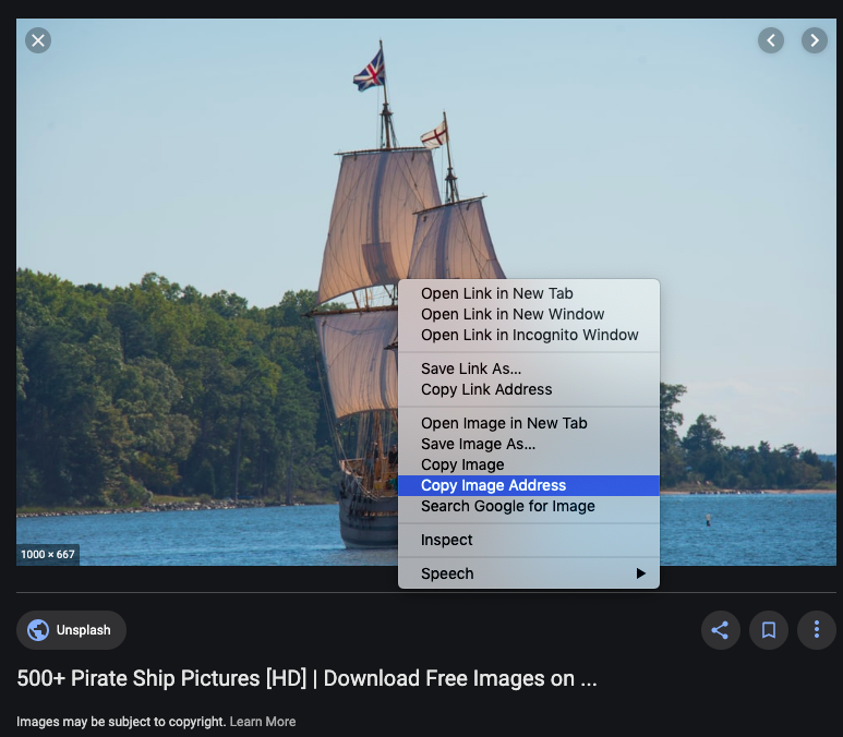 The right-click drop-down menu over an image of a pirate ship, with 'Copy Image Address' highlighted on the menu.