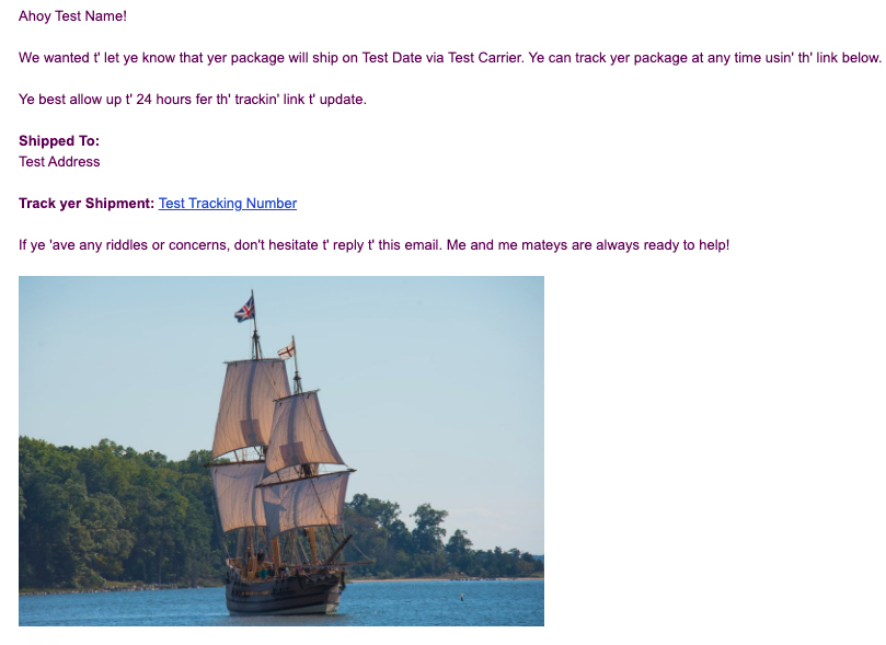 Screenshot of a test email, showing the image of the pirate ship at the bottom of the email.